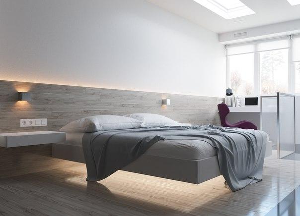 інтерєр спальні в стилі хай-тек